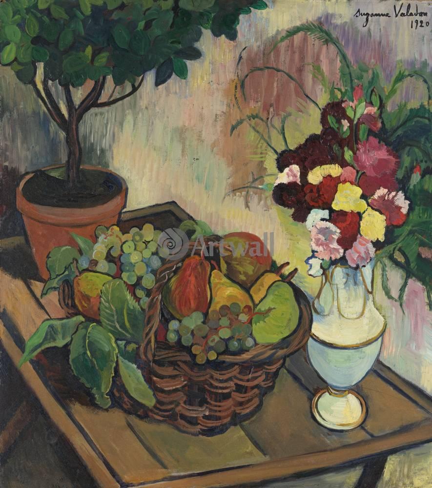 """Художники, картина """"Натюрморт с букетом и корзиной с фруктами"""", 20x23 см, на бумаге от Artwall"""