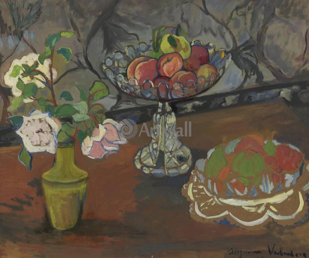 "Художники, картина ""Натюрморт с розами и фруктами"", 24x20 см, на бумаге от Artwall"