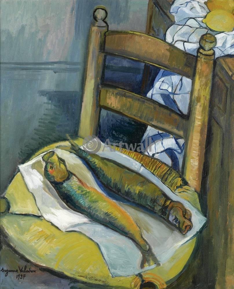 "Художники, картина ""Натюрморт с рыбой"", 20x25 см, на бумаге от Artwall"