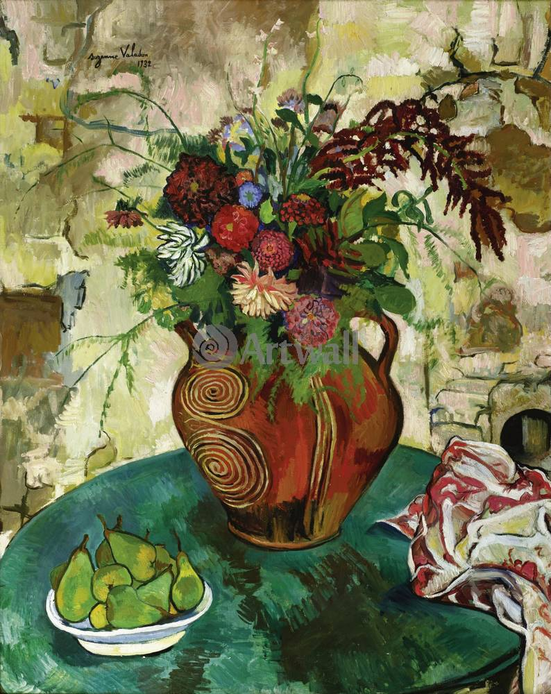 "Художники, картина ""Натюрморт с цветами и фруктами"", 20x25 см, на бумаге от Artwall"