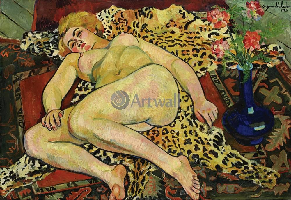 """Художники, картина """"Обнаженная Катерина на тигровой шкуре"""", 29x20 см, на бумаге от Artwall"""