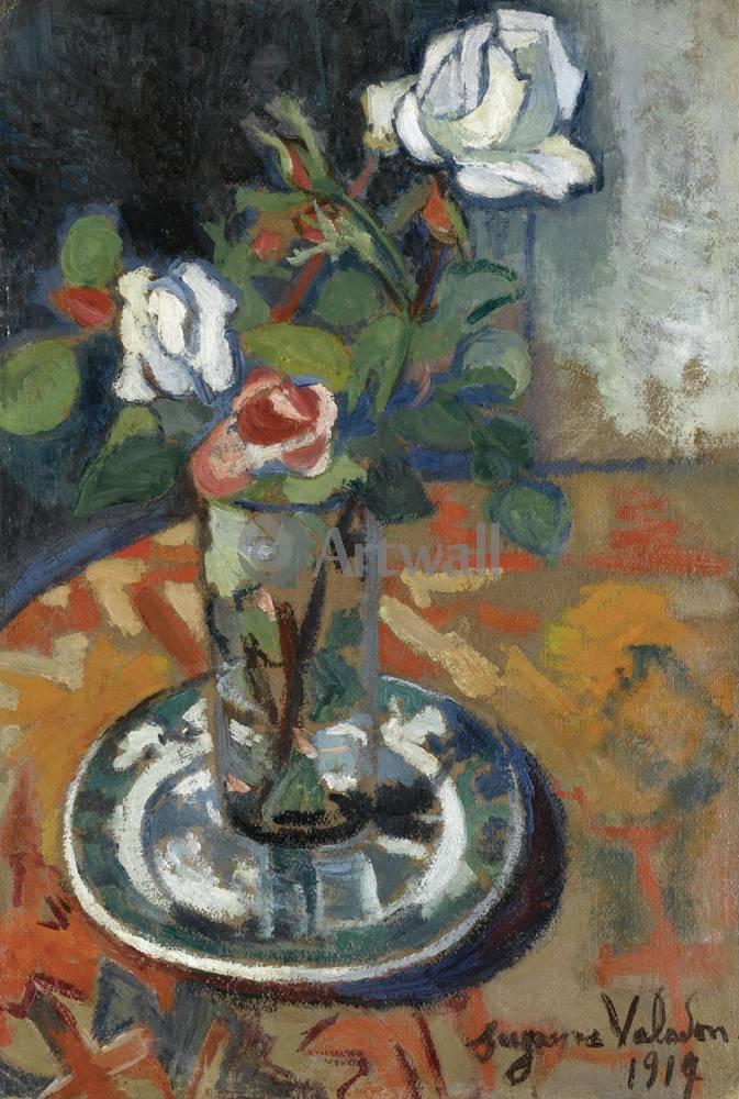 """Художники, картина """"Розы в вазе"""", 20x30 см, на бумаге от Artwall"""