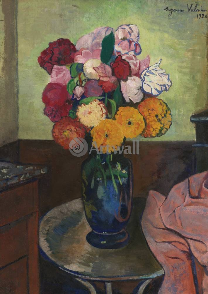 "Художники, картина ""Цветочная ваза на круглом столе"", 20x28 см, на бумаге от Artwall"