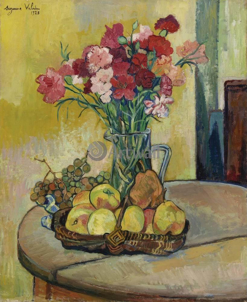 """Художники, картина """"Цветы, яблоки и виноград"""", 20x24 см, на бумаге от Artwall"""