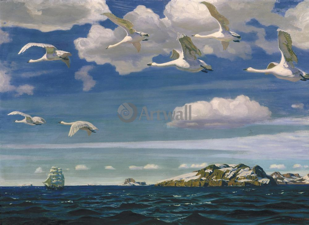 """Художники, картина """"В голубом просторе"""", 27x20 см, на бумаге от Artwall"""