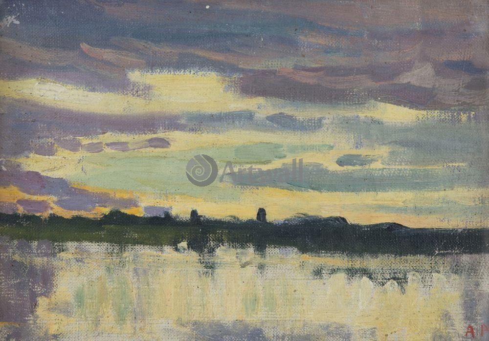 """Художники, картина """"Вечернее озеро"""", 29x20 см, на бумаге от Artwall"""