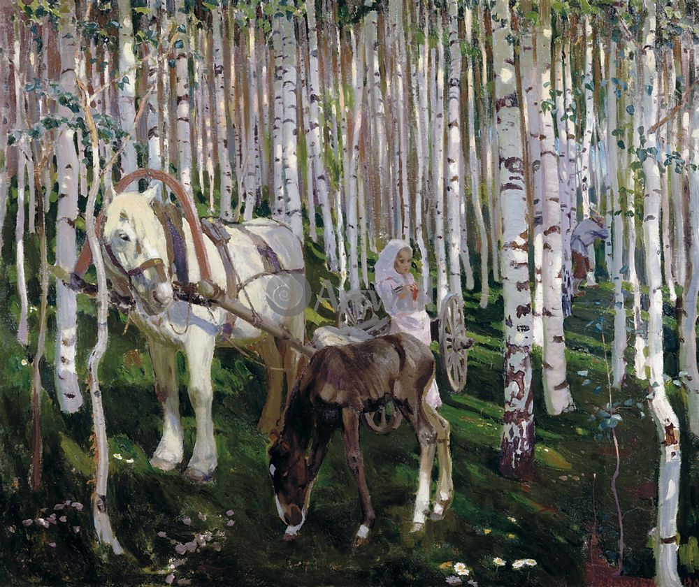 """Художники, картина """"В лесу"""", 24x20 см, на бумаге от Artwall"""