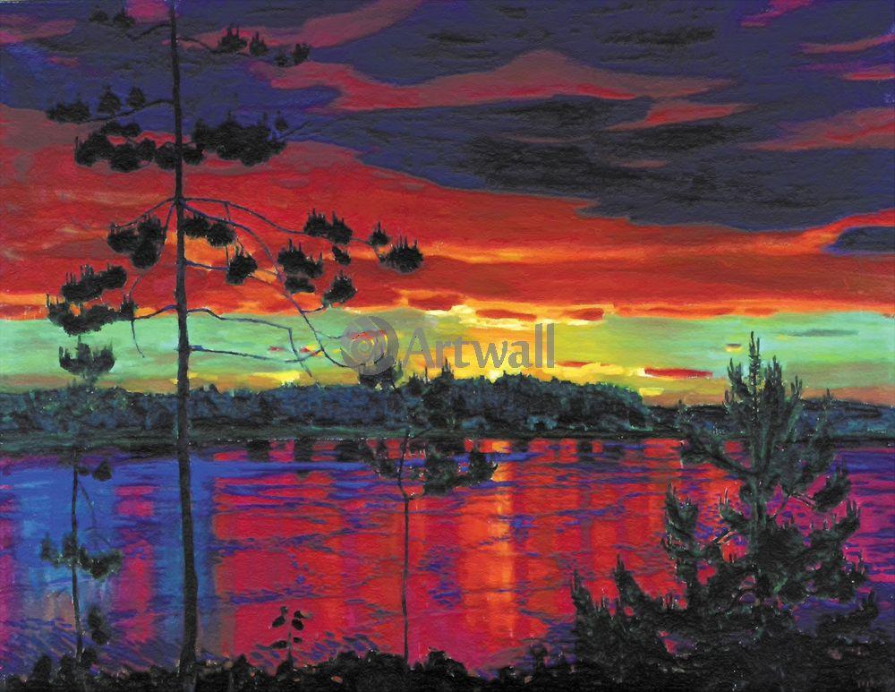 """Художники, картина """"Закат"""", 26x20 см, на бумаге от Artwall"""