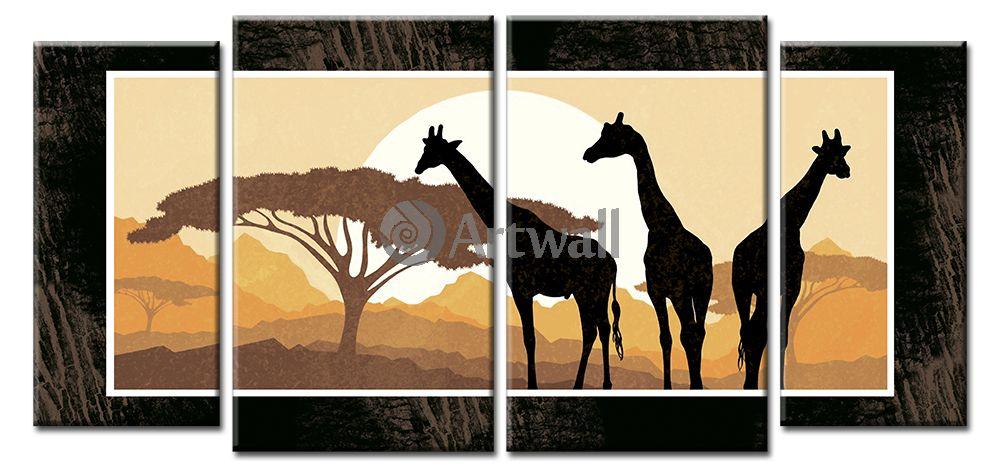 Модульная картина «Три жирафа», 107x50 см, модульная картина от Artwall