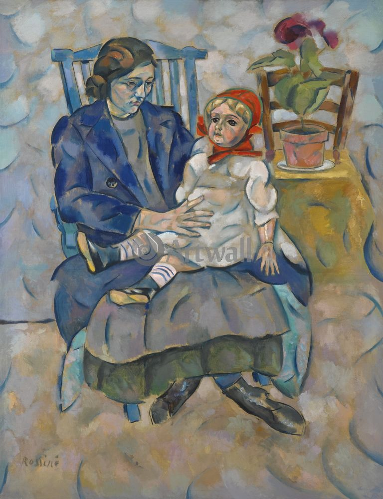 """Художники, картина """"Девушка с куклой"""", 20x26 см, на бумаге от Artwall"""