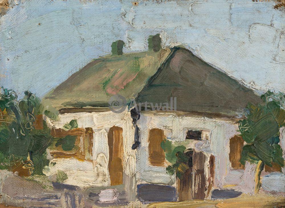 """Художники, картина """"Дом в деревне"""", 27x20 см, на бумаге от Artwall"""