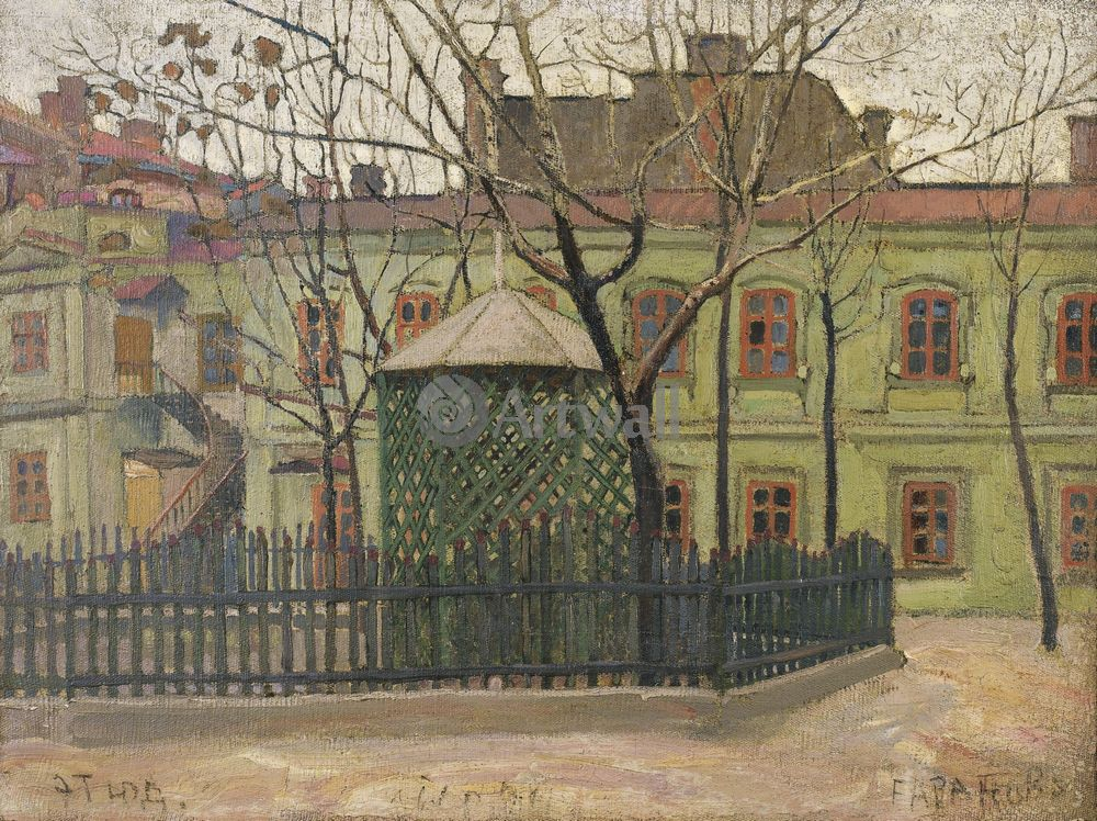 "Художники, картина ""Зеленый дом на площади"", 27x20 см, на бумаге от Artwall"