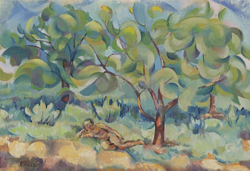 """Художники, картина """"Обнаженная под деревом"""", 29x20 см, на бумаге от Artwall"""