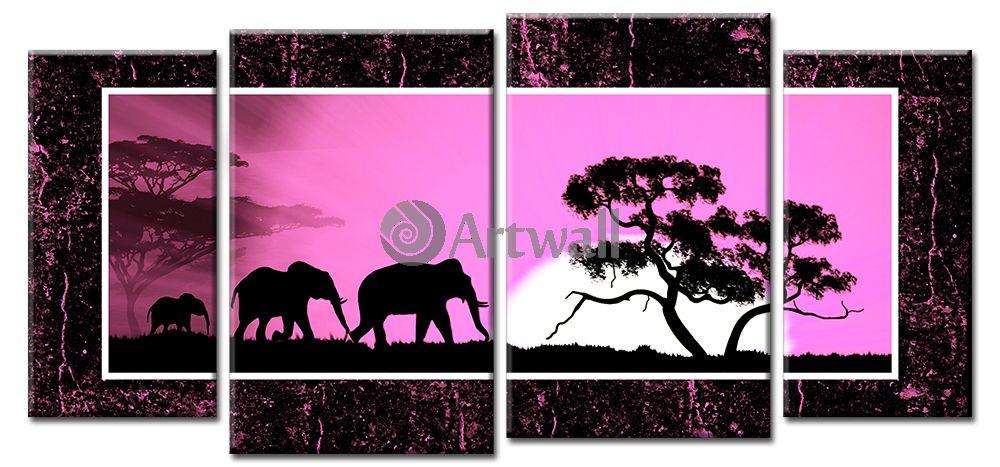 Модульная картина «Слоны на закате», 107x50 см, модульная картина от Artwall