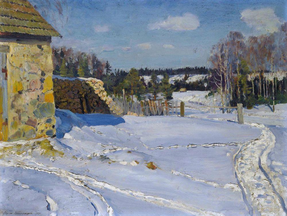 Картина часы Зимний пейзаж на холсте любого размера
