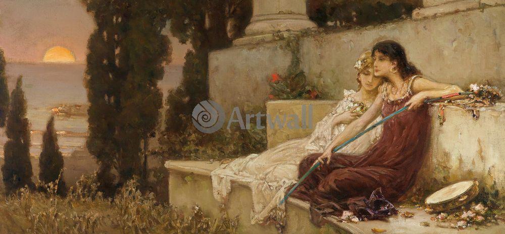 """Художники, картина """"Вечерняя тишина"""", 43x20 см, на бумаге от Artwall"""
