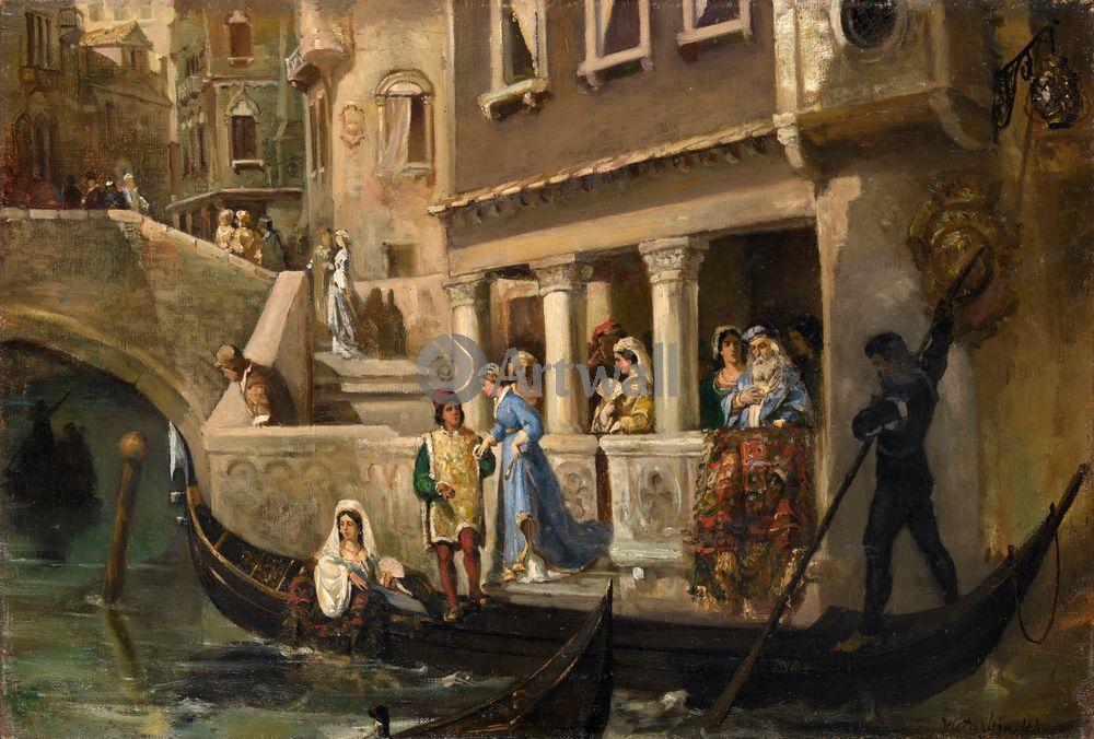 """Художники, картина """"Знатные венецианцы у гондолы"""", 30x20 см, на бумаге от Artwall"""