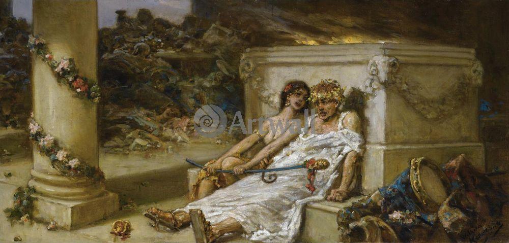 """Художники, картина """"Купидон и вакханка"""", 42x20 см, на бумаге от Artwall"""