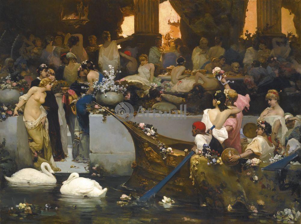 """Художники, картина """"Римская оргия"""", 27x20 см, на бумаге от Artwall"""