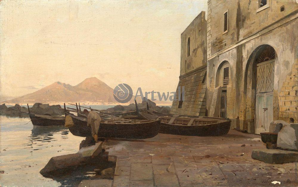 """Художники, картина """"Вид на Везувий от неаполитанского залива"""", 32x20 см, на бумаге от Artwall"""