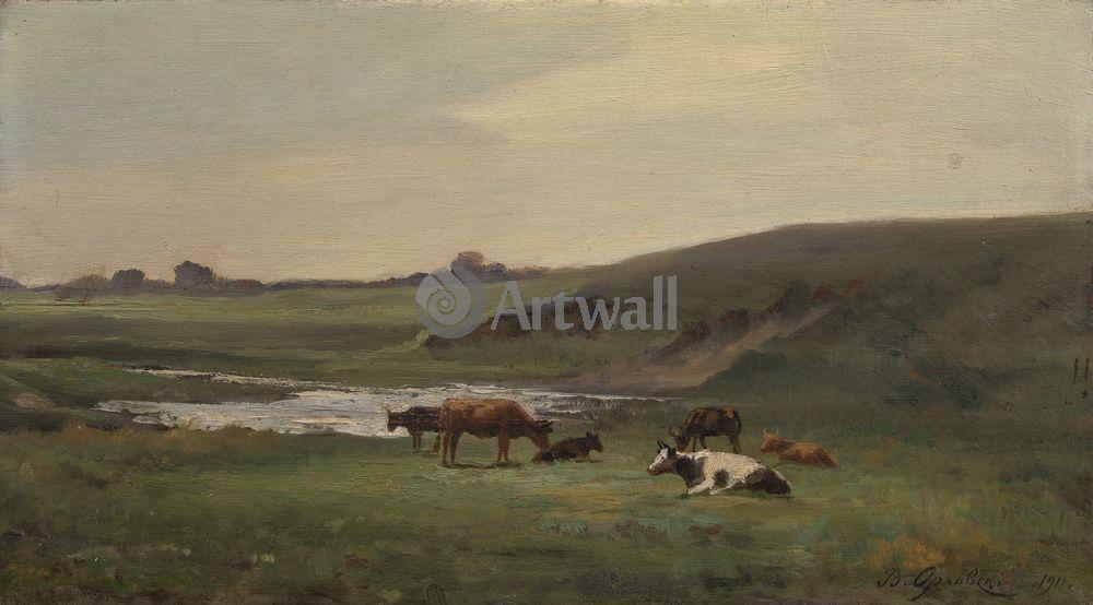 """Художники, картина """"Коровы на пастбище"""", 36x20 см, на бумаге от Artwall"""