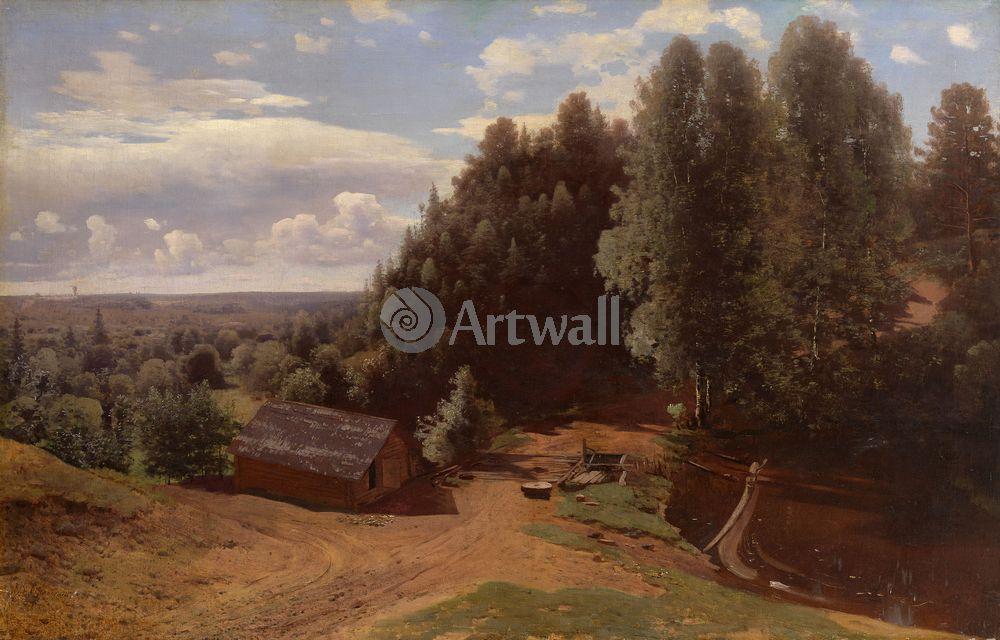 "Художники, картина ""Мельница на опушке"", 31x20 см, на бумаге от Artwall"