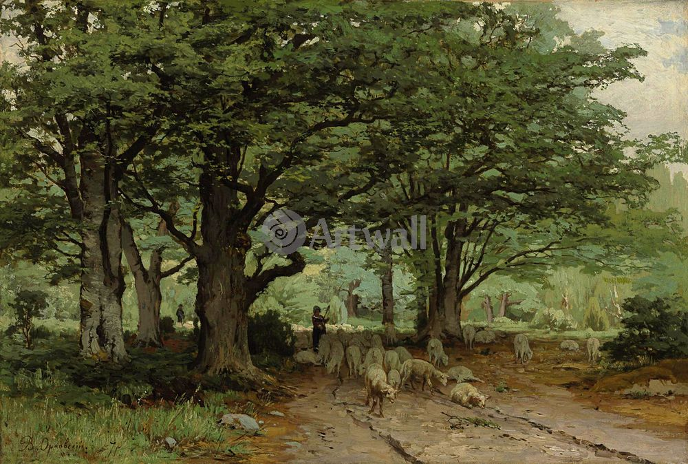 "Художники, картина ""Пастушка и стадо в лесу"", 30x20 см, на бумаге от Artwall"