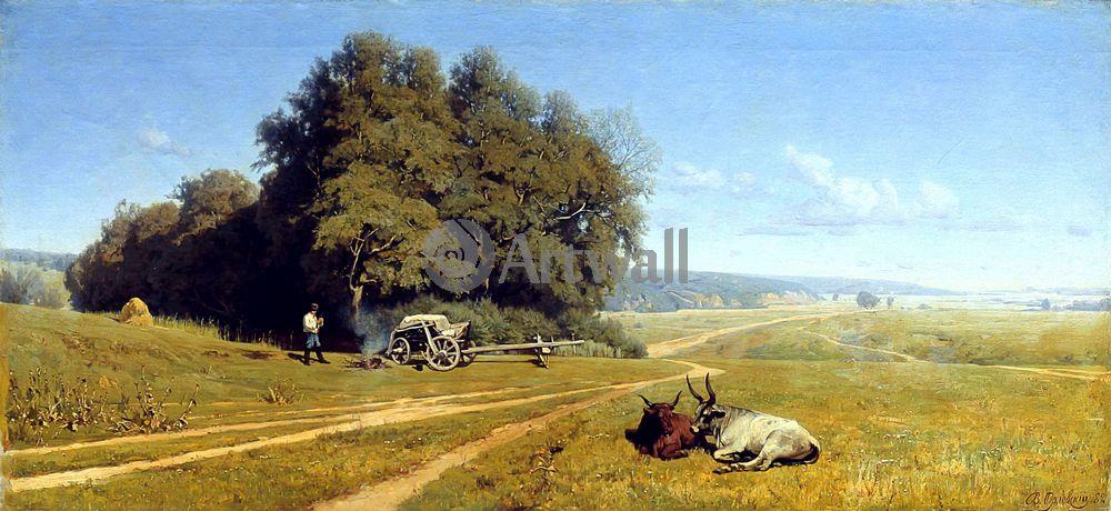 "Художники, картина ""Пейзаж"", 43x20 см, на бумаге от Artwall"
