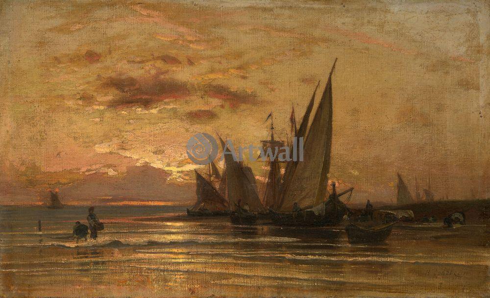 """Художники, картина """"Рыбачьи лодки на закате"""", 33x20 см, на бумаге от Artwall"""