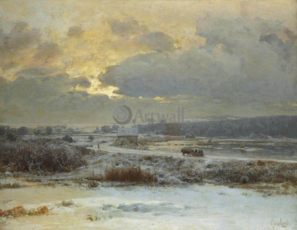 """Художники, картина """"Тройка в снегу"""", 26x20 см, на бумаге от Artwall"""
