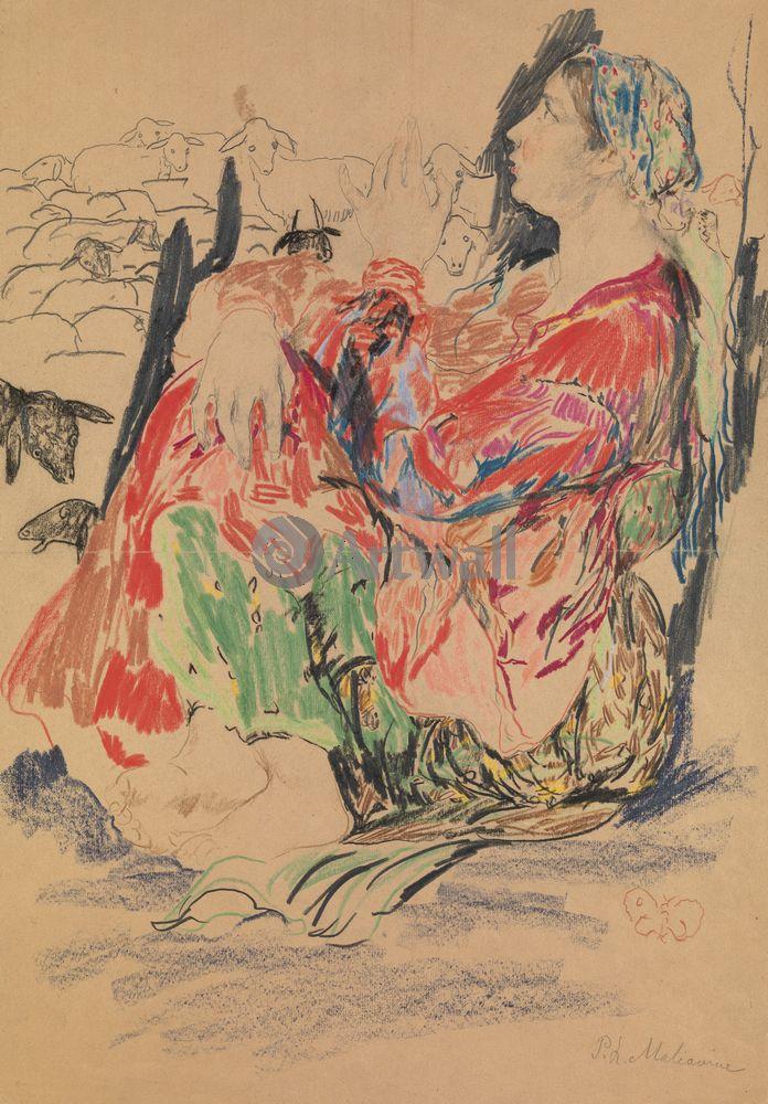 """Художники, картина """"Баба"""", 20x29 см, на бумаге от Artwall"""