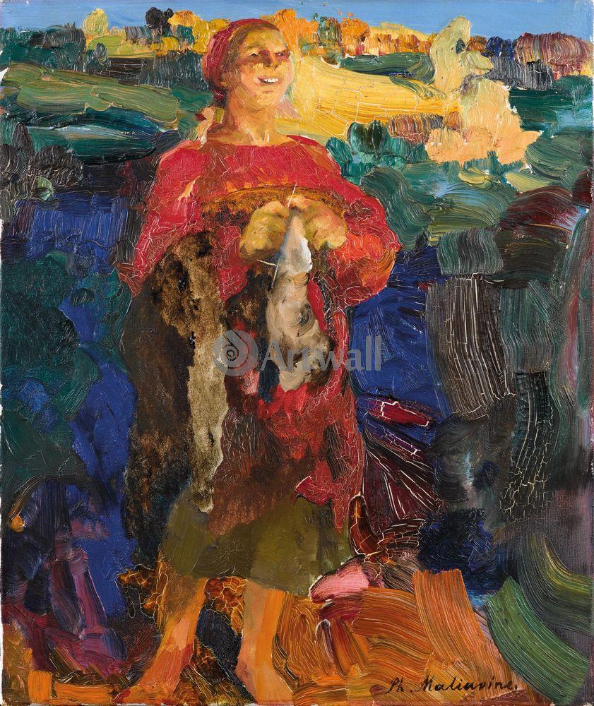 """Художники, картина """"Баба в красном"""", 20x24 см, на бумаге от Artwall"""