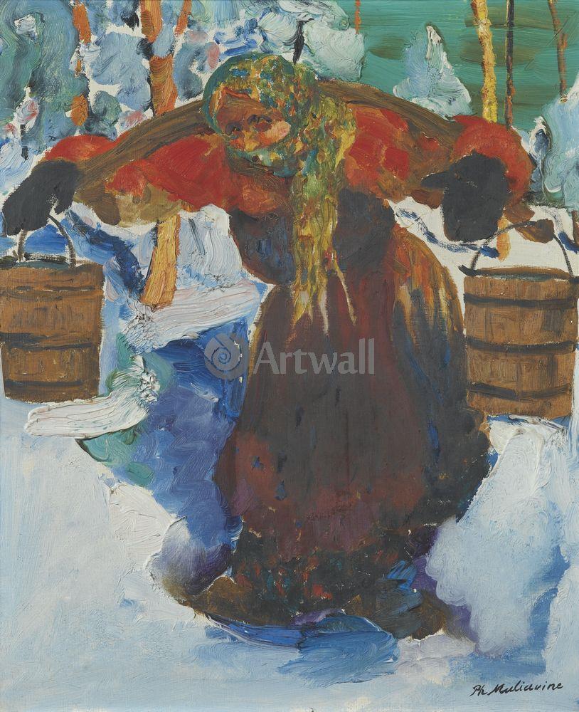 """Художники, картина """"Баба с коромыслом"""", 20x25 см, на бумаге от Artwall"""