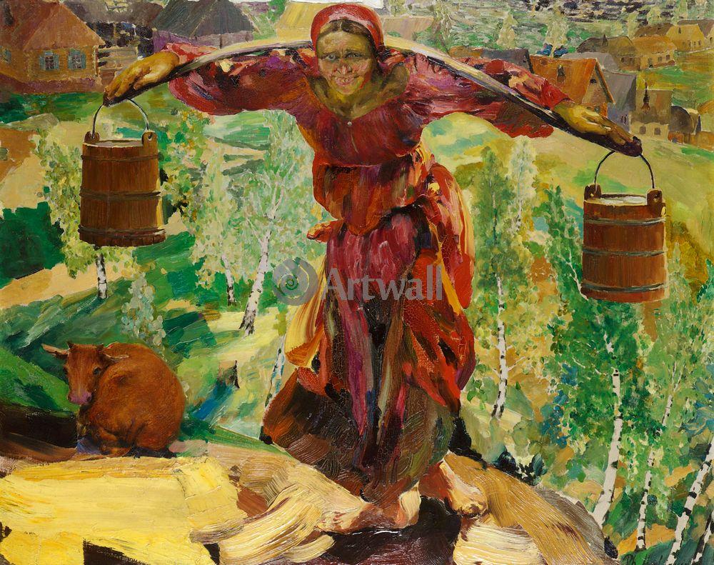 """Художники, картина """"Баба с коромыслом"""", 25x20 см, на бумаге от Artwall"""