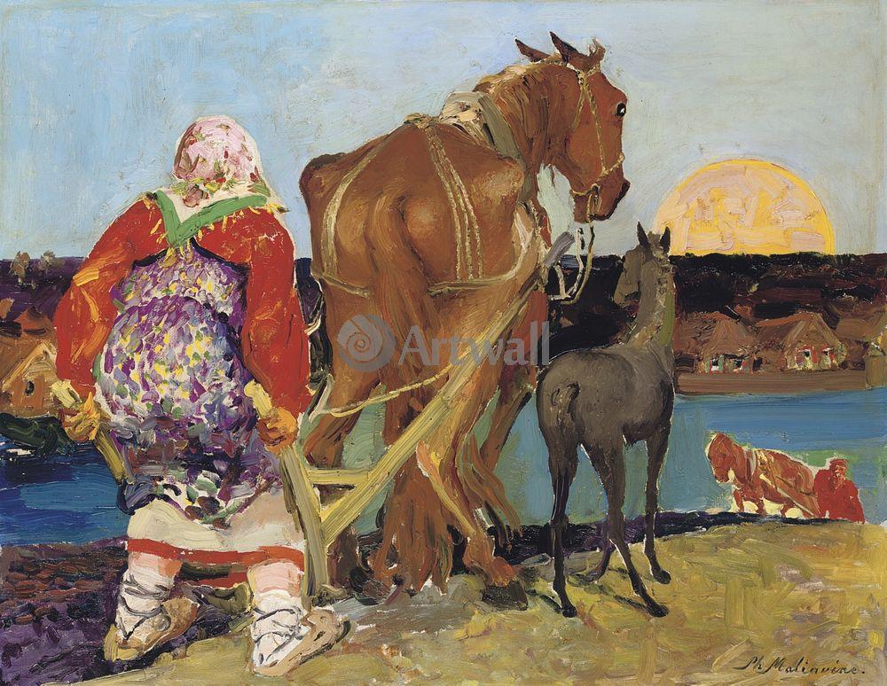 """Художники, картина """"Вспашка на закате"""", 26x20 см, на бумаге от Artwall"""