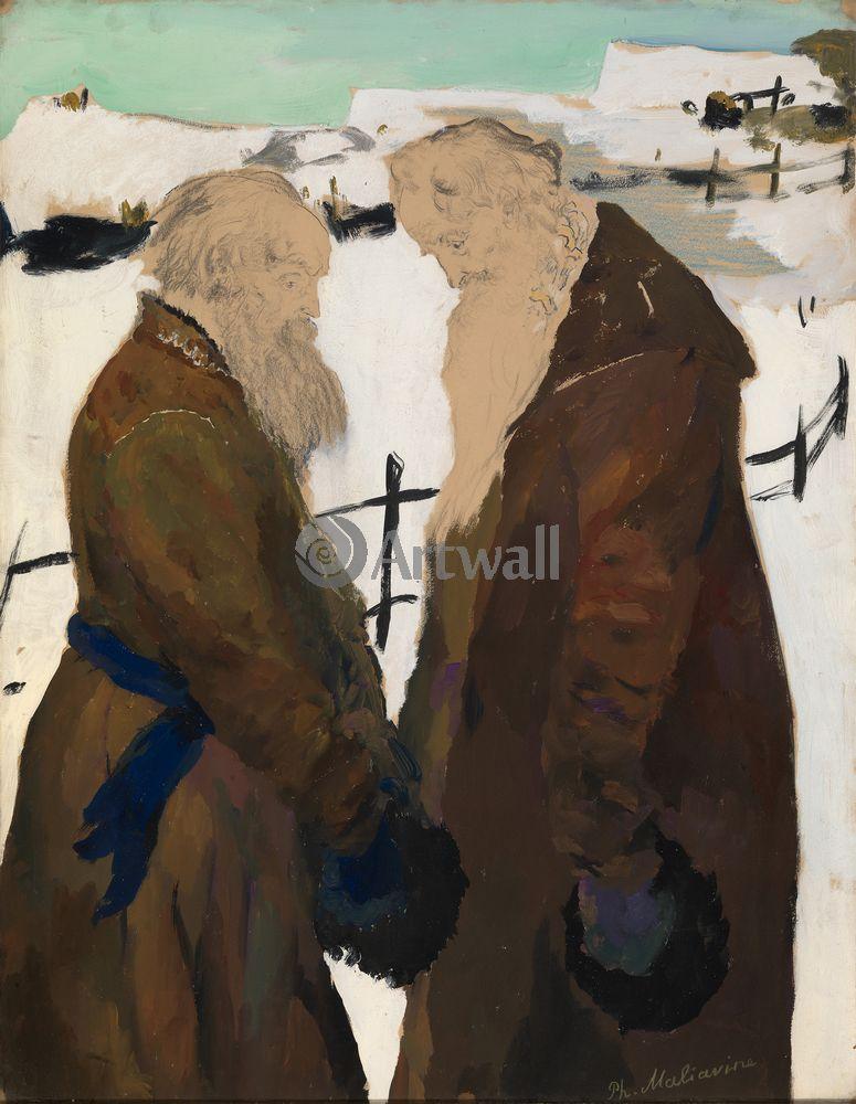 """Художники, картина """"Два монаха"""", 20x26 см, на бумаге от Artwall"""