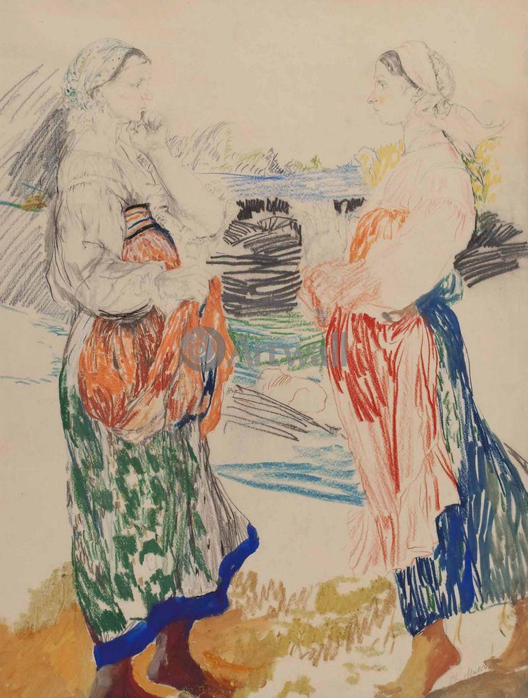 """Художники, картина """"Две бабы"""", 20x26 см, на бумаге от Artwall"""