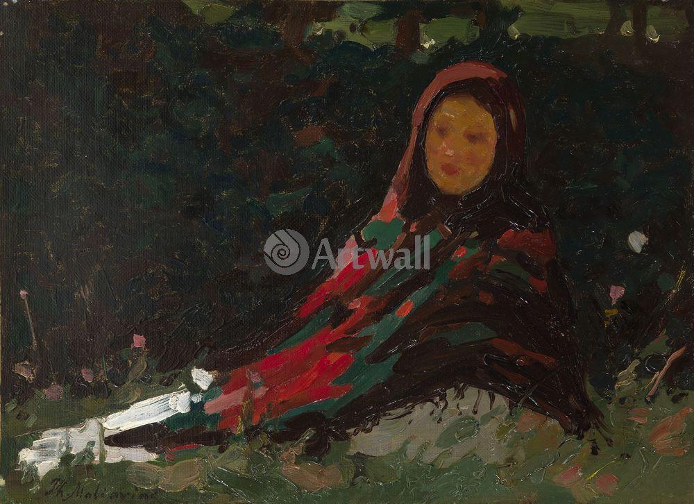 """Художники, картина """"Девушка в ярком платке"""", 28x20 см, на бумаге от Artwall"""