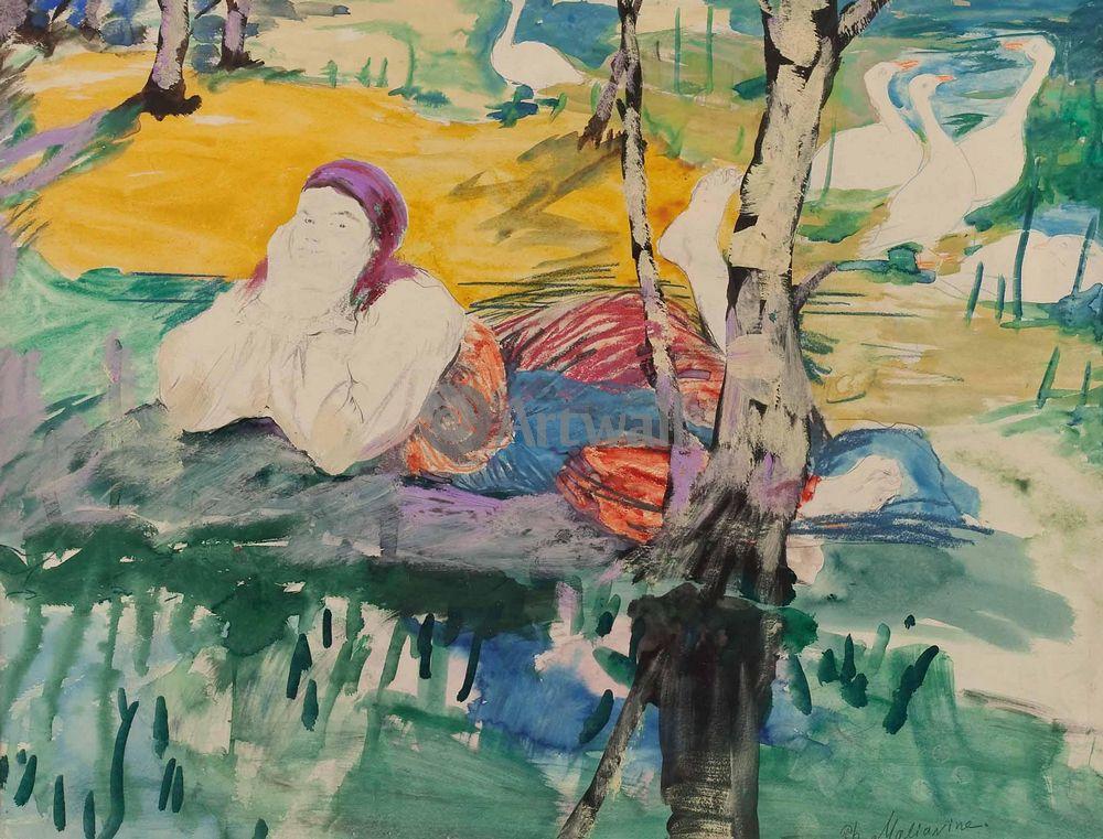 "Художники, картина ""Девушка с гусями на берегу пруда"", 26x20 см, на бумаге от Artwall"