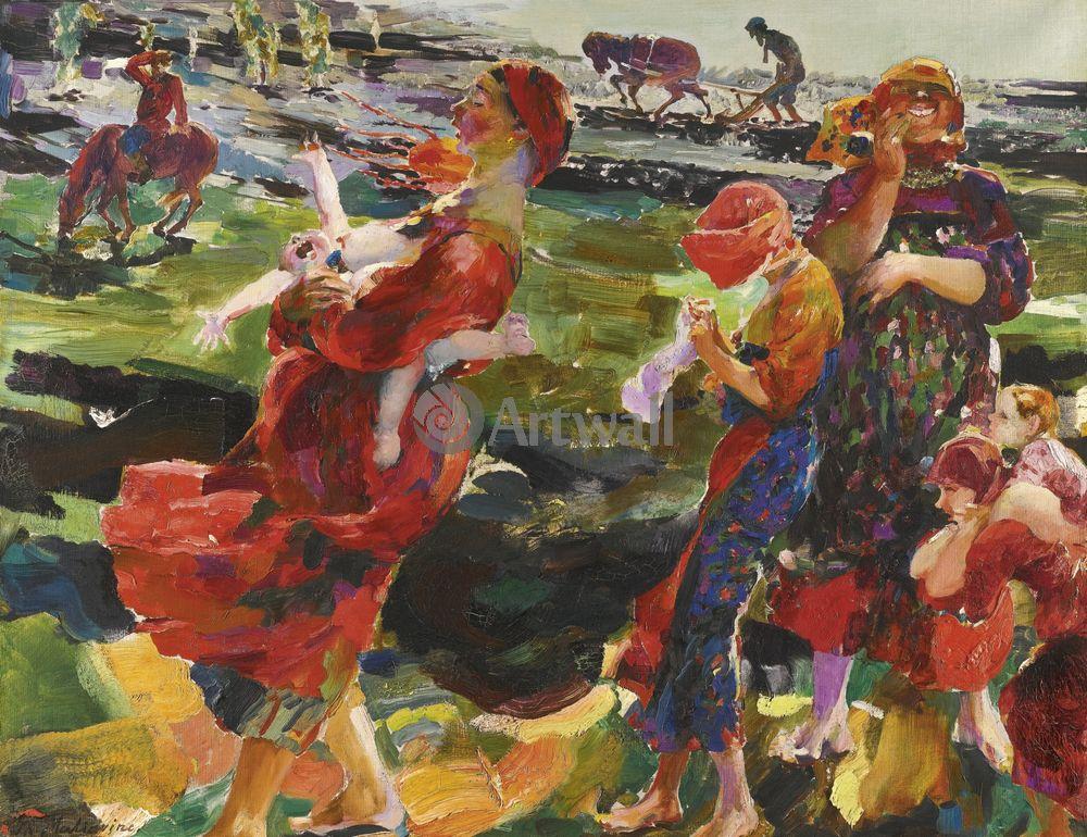 """Художники, картина """"Деревенская жизнь"""", 26x20 см, на бумаге от Artwall"""