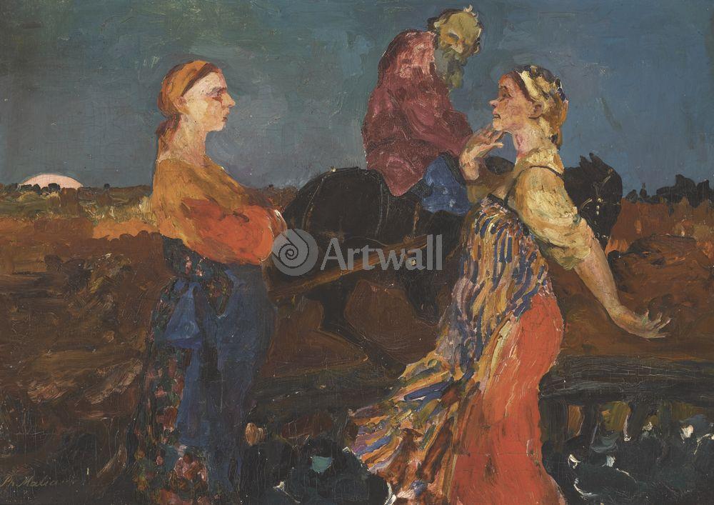 """Художники, картина """"Деревенская сцена"""", 28x20 см, на бумаге от Artwall"""