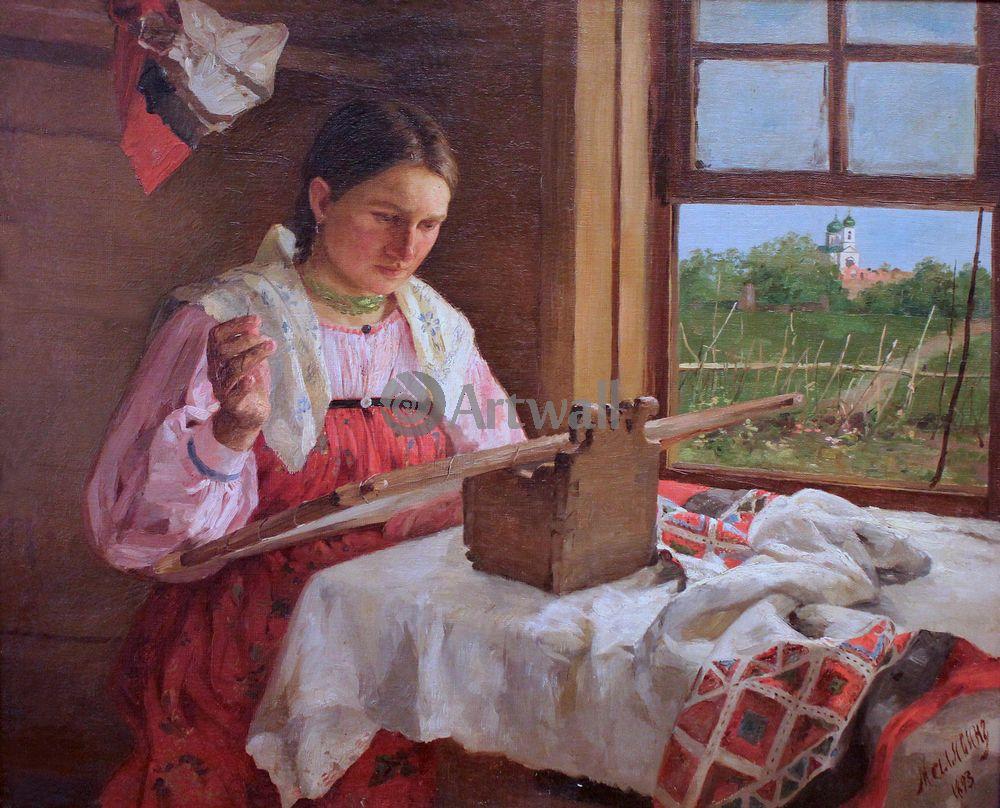 """Художники, картина """"Крестьянка за вышивкой"""", 25x20 см, на бумаге от Artwall"""