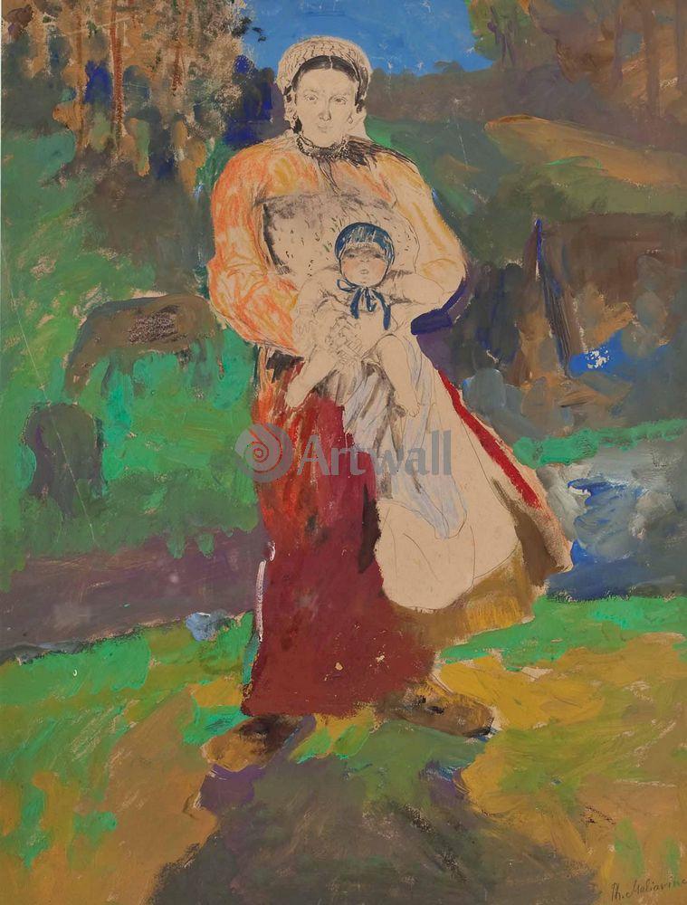 """Художники, картина """"Мать и дитя"""", 20x26 см, на бумаге от Artwall"""