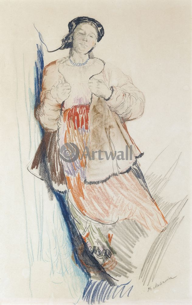 """Художники, картина """"Молодая девушка"""", 20x32 см, на бумаге от Artwall"""