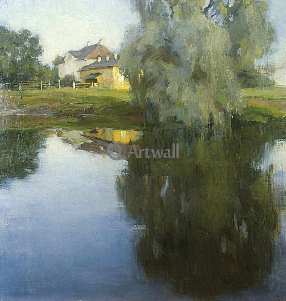"""Художники, картина """"Ива у реки"""", 20x21 см, на бумаге от Artwall"""