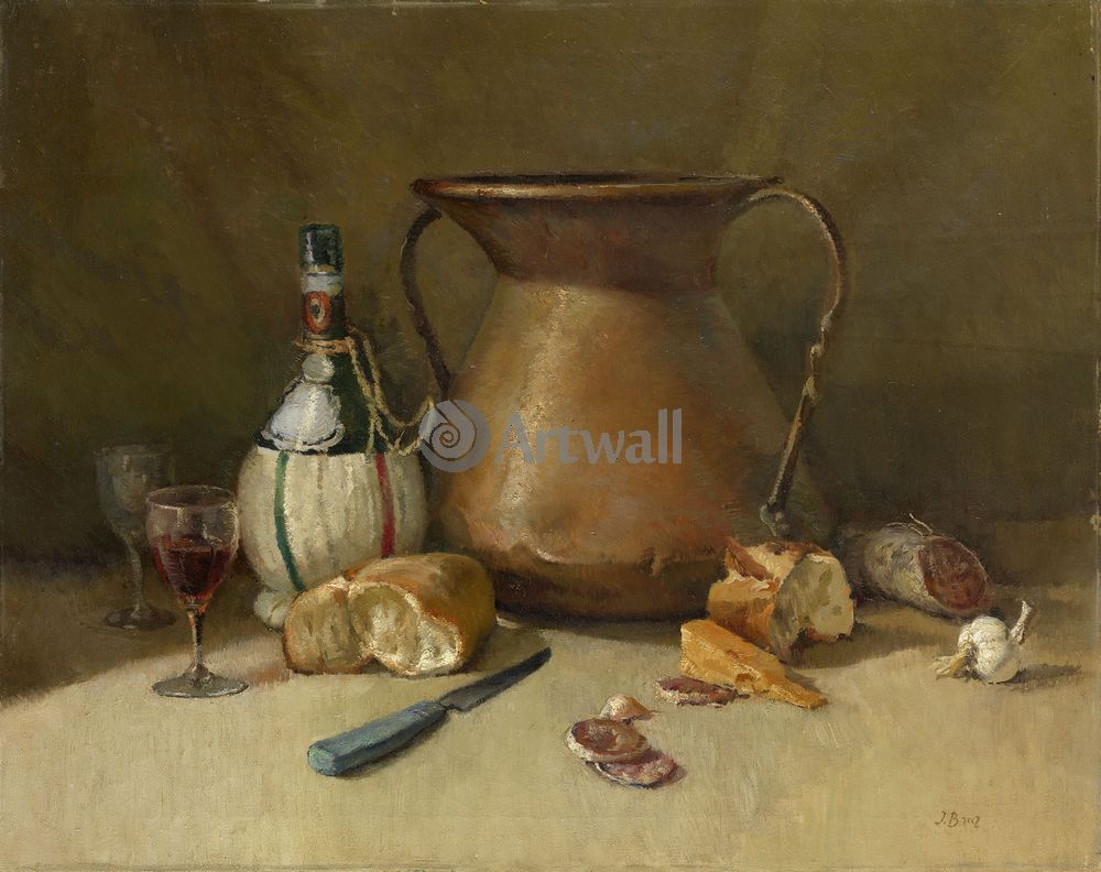 """Художники, картина """"Натюрморт с хлебом и вином"""", 25x20 см, на бумаге от Artwall"""