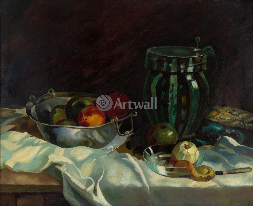 """Художники, картина """"Натюрморт с яблоками и кувшином"""", 25x20 см, на бумаге от Artwall"""