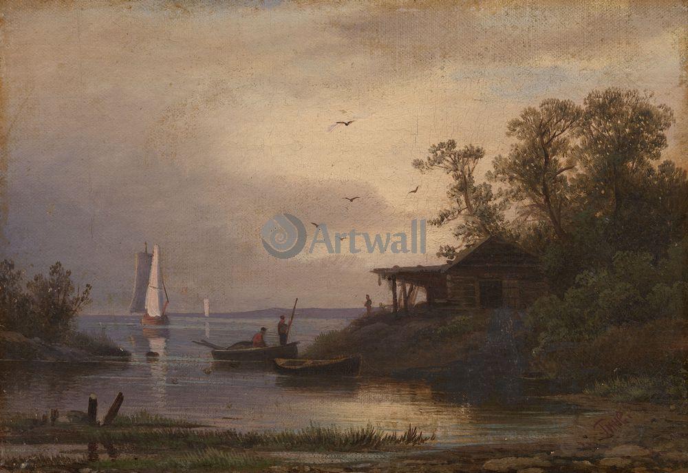 """Художники, картина """"Рыбаки"""", 29x20 см, на бумаге от Artwall"""