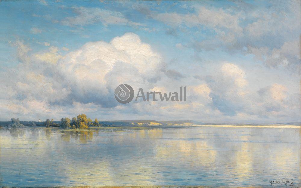"""Художники, картина """"Озеро"""", 32x20 см, на бумаге от Artwall"""