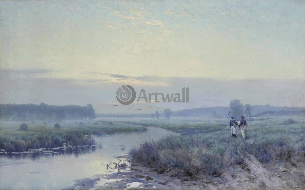 "Художники, картина ""Раннее утро в полях"", 32x20 см, на бумаге от Artwall"